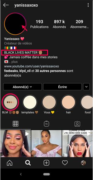 Campagne d'influence de Yanissa xoxo qui utilise son influence et sa e-réputation pour mettre en avant Black Lives Matter
