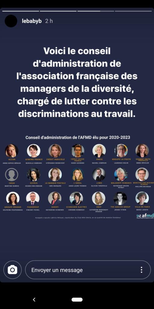 Organigramme du conseil d'administration de l'association française des managers de la diversité.