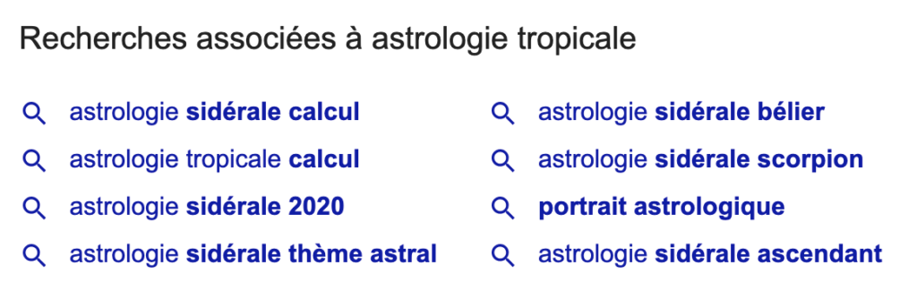 suggestion de mot-clé google
