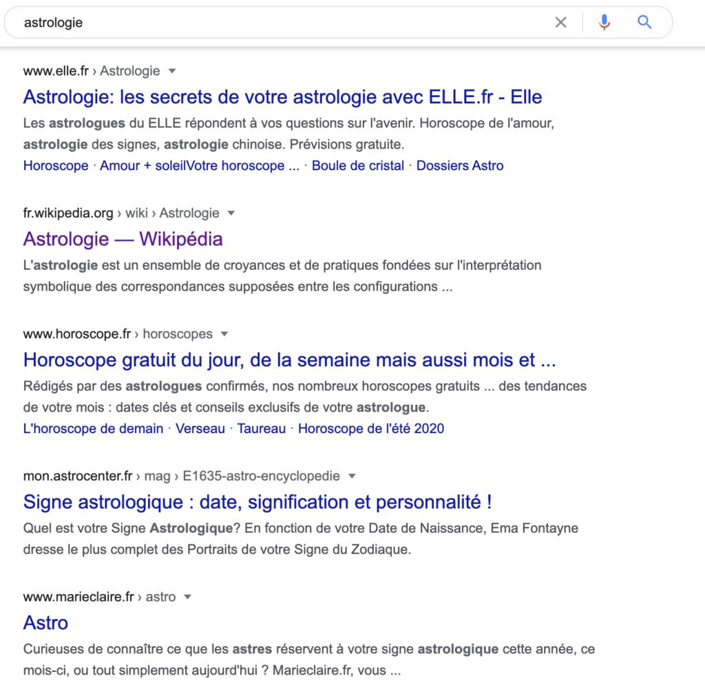 meilleurs résultats google